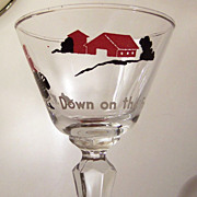 Vintage Down On The Farm Cocktail Glass