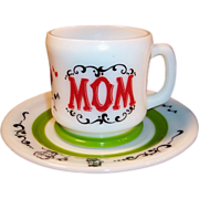 Hazel Atlas Gay 90's &quot;Mom&quot; Mug & 7&quot;  Plate Set