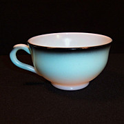 Hazel Atlas Ovide  Aqua Blue & Black Cup