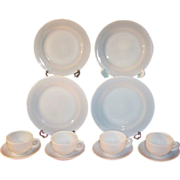 Service for FOUR:  Platonite  Crisp Cool White Dinnerware by Hazel Atlas