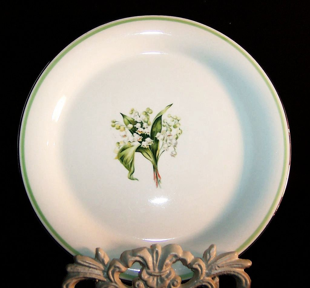 Homer Laughlin Lily of the Valley Swing 8&quot; Salad Plates