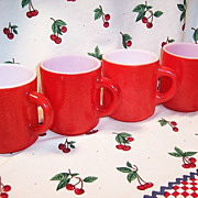SET of 4: Cherry Red Hazelware &quot;Pebble&quot; Textured Stackable Mugs