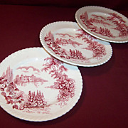 "SET OF THREE:  Johnson Brothers: ""Castle on the Lake""  6 1/4"" Plates"