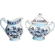 J. & G. Meakin Blue Nordic Creamer & Covered Sugar