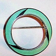 Green Guilloche Enamel Circle Pin