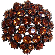 Warm  Amber Japaned Brooch