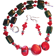 Bold Red Bamboo Coral & Australian Jasper Necklace & Earrings