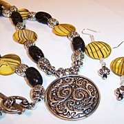 "Solar Power Yellow Striped Shell Lentils & Ebony Carved Wooden Beads ""Hope"" Necklace"
