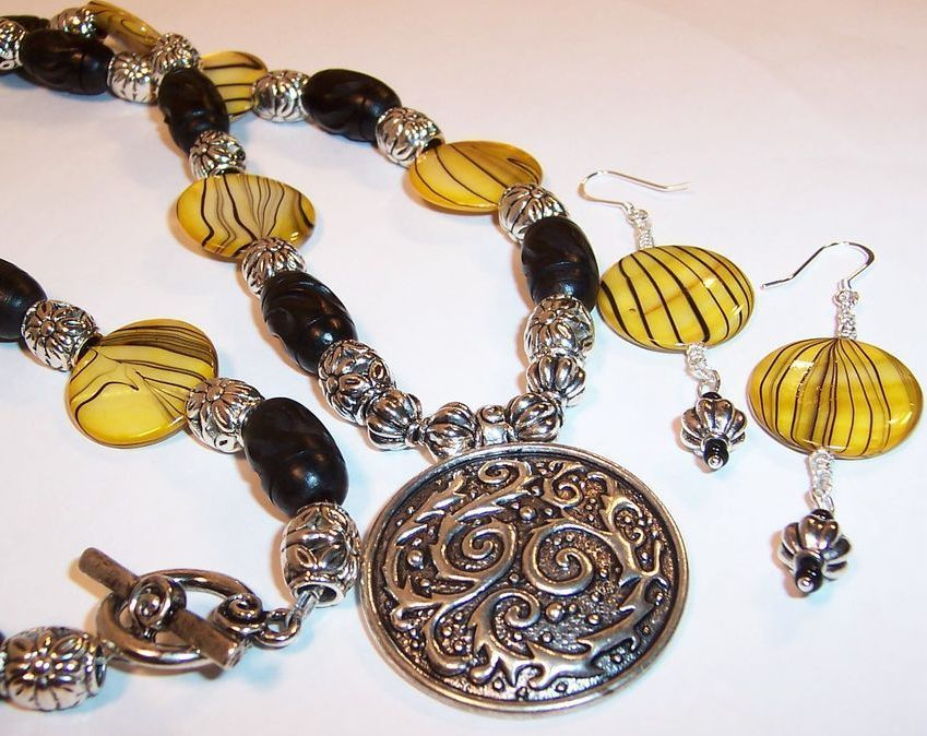 "Solar Power Yellow Striped Shell Lentils & Ebony Carved Wooden Beads ""Hope"" Necklace & Earrings Set"