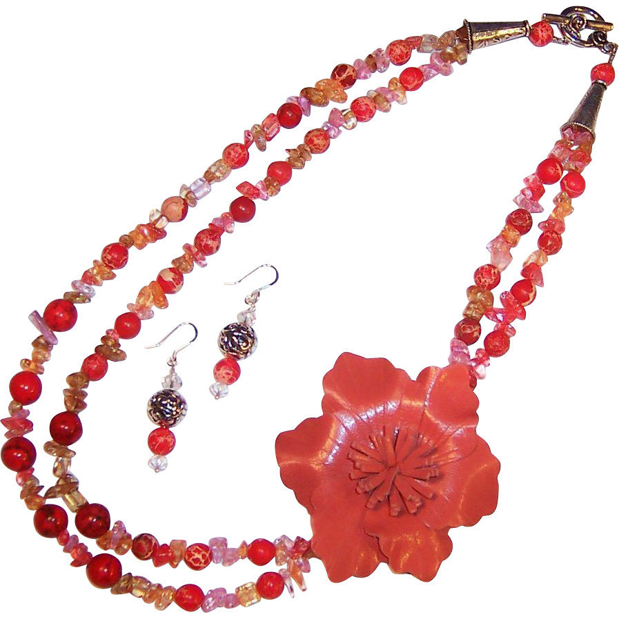 Leather Flower Power Tastefully Orange Necklace & Earrings Set