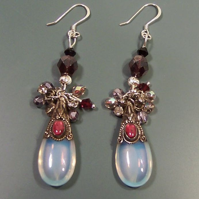 Feminine Sterling Silver  & Opalite Handcrafted Earrings