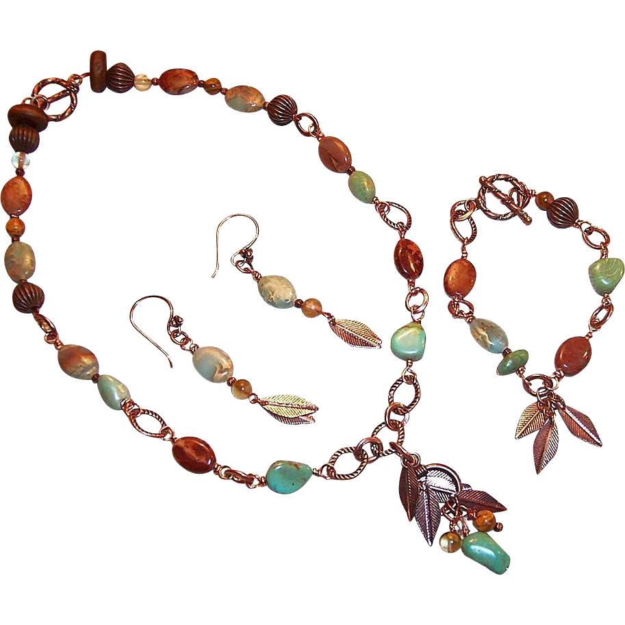Earthy Turquoise Nugget & Terra Jasper Set: Earrings with Changeable Necklace, & Bracelet