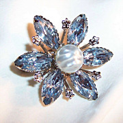 Icy Blue Navettes Brooch
