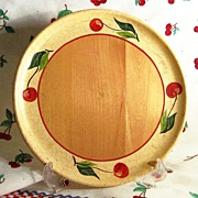 "8 3/4"" Robinhood Ware Decorated Cherry ( Cherries) Wooden Plate"