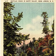 North Carolina Buffalo Creek Linen Postcard