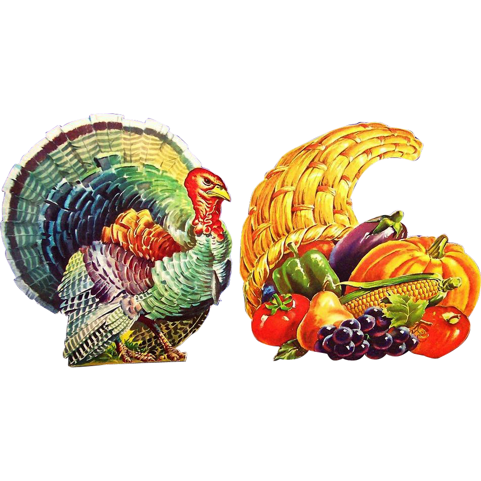 Vintage Dennison Thanksgiving & Fall Diecuts: Horn of Plenty & Tom Turkey