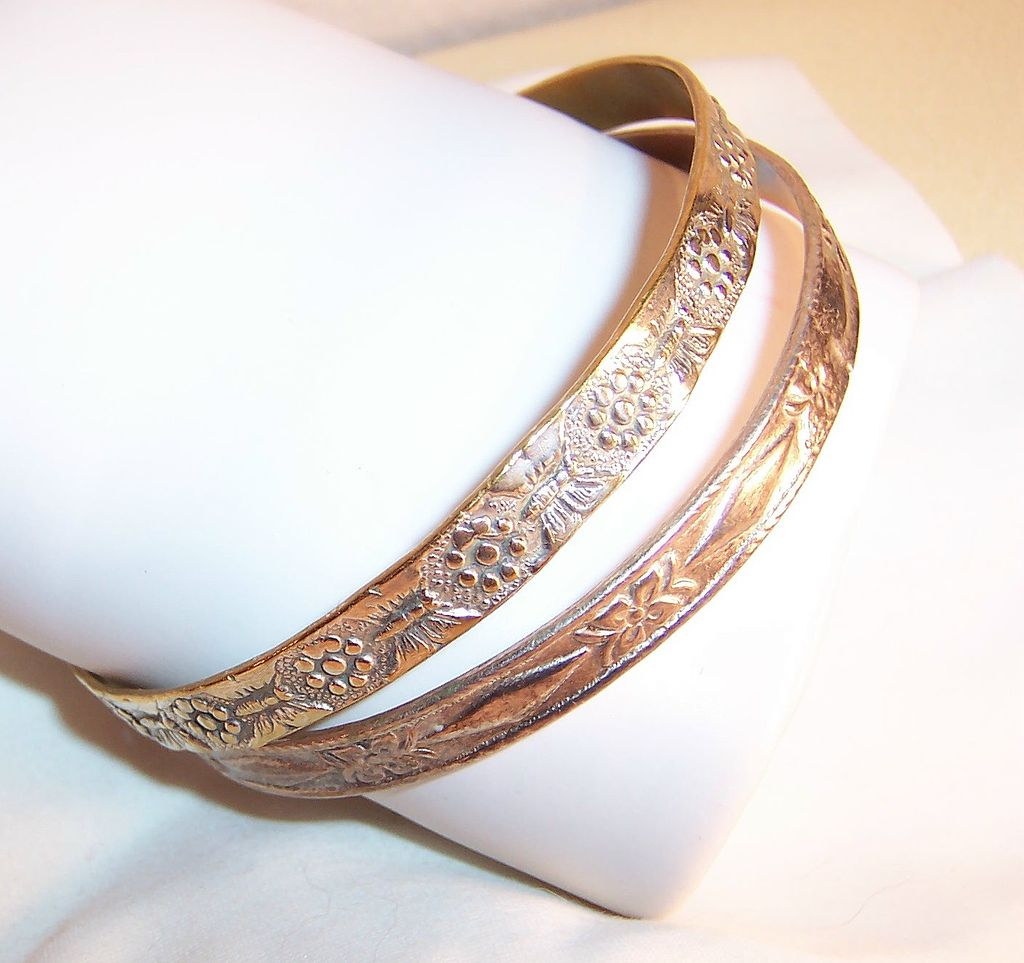 Mexico & Taxco Mixed Metal Silver Bangle Bracelets