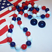 SALE 36&quot; Patriotic  Red, White, Blue Beaded Necklace