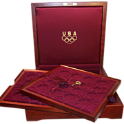 Large Cherry Wood Coin Collector's Case