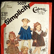 C. 1982 Simplicity Cinderella Series Pattern #5629 Toddler Dress Size 3 -- Uncut