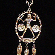 Vintage Egyptian Pendant Necklace & Charms