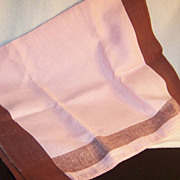 Vintage Large Pink & Brown Tea Towel / Dish Towel / Hand Towel