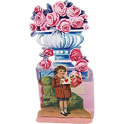 Victorian Stand-up Die Cut Boy & Roses Valentine for Valentine's Day