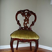 REDUCED Antique Victorian Rosewood Handcarved Chair cir. 1850