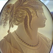 SOLD Large  Antique Victorian Cameo Shell Brooch cir.1850