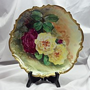 "Limoges Fine China L.R.L Artist Signed Roses Plate ""Henriol"" cir. 1920"