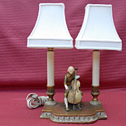 REDUCED Art Deco J B Hirsh Cello Player Lamp 1932