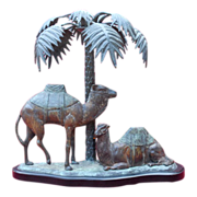 Two Camels at Palm Tree Bronze Statue