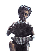 Italian Renaissance Style Bronze Cherub Boy with Shell Fountain