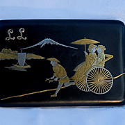 Fine Japanese Komai Style Damascene Cigarette Case of Geisha