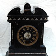 SALE PENDING French Black Slate and Marble Mantel Clock