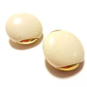 Vintage Les Bernard Faux Ivory and Gold Tone Round Earrings