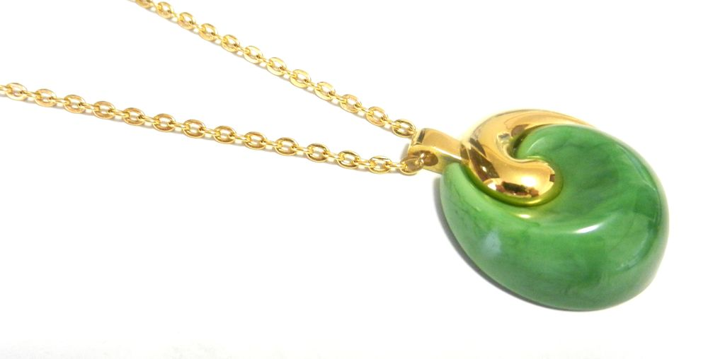 Item ID: 11/2 Trifari Green Pendant In Shop's Backroom