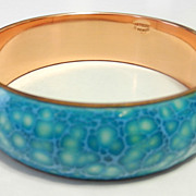Vintage Renoir Matisse Blue Copper Modernist Enamel Bangle