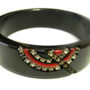 Vintage Early Plastic Lucite Black Red Rhinestone Bangle Bracelet