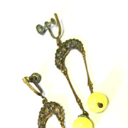 Vintage Art Deco Yellow Glass Earrings Dangling Drop Chandelier Earrings