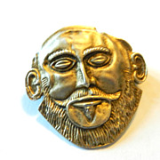 Vintage 835 Silver Face Greek Mythology Deco Pin Brooch Pendant