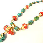 Vintage Jose Maria BARRERA Turquoise Coral Runway Necklace