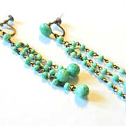 SOLD Vintage Art Deco Peking Glass Green Earrings Dangling Drop Chandelier Earrings