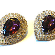 Vintage Rhinestone Pear Shaped Purple Earrings