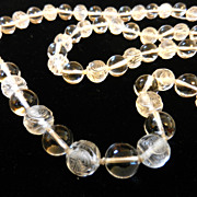 Vintage Crystal Necklace Beaded Beads Sautoir Etched Chinese