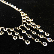 Vintage Crystal Open Back Sterling Drippy Bib Necklace