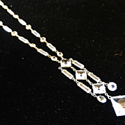 Vintage Deco Open Back Crystal Necklace