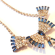 Vintage Crystal Clear and Blue Rhinestone Bow Necklace