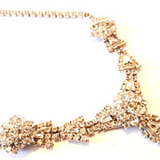Vintage 1960's Crystals Rhinestone Necklace Wedding Bride Jewelry