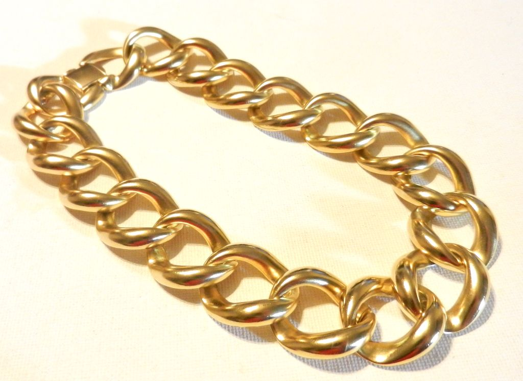 Vintage Matte Gold Link Necklace